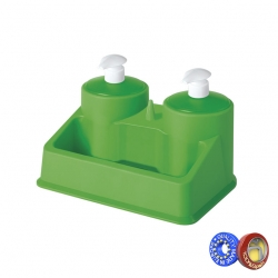 Dosificador doble TWIN con recipiente para baño