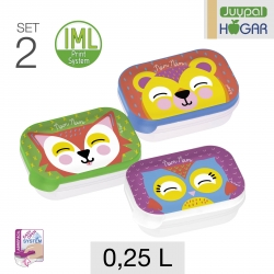 Set de 2 Tuppers Rectangular PP 0,25 L.