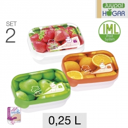 Set de 2 tápers de frutas rectangulares 0,25 L.